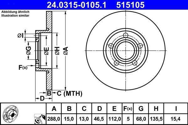 ATE PowerDisc 24.0315-0105.1 Bremsscheibe Bremsscheibendicke: 15,0mm, Lochanzahl: 5, Ø: 288,0mm