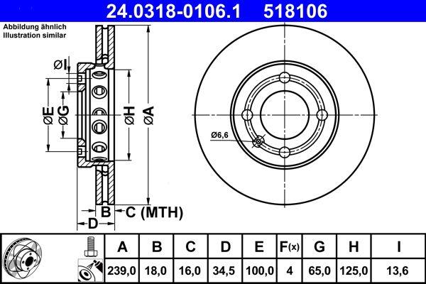 ATE PowerDisc 24.0318-0106.1 Bremsscheibe Bremsscheibendicke: 18,0mm, Lochanzahl: 4, Ø: 239,0mm