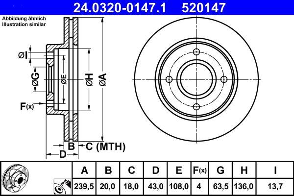 ATE PowerDisc 24.0320-0147.1 Bremsscheibe Bremsscheibendicke: 20,0mm, Lochanzahl: 4, Ø: 239,5mm