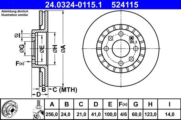 ATE PowerDisc 24.0324-0115.1 Bremsscheibe Bremsscheibendicke: 24,0mm, Lochanzahl: 4, Ø: 256,0mm