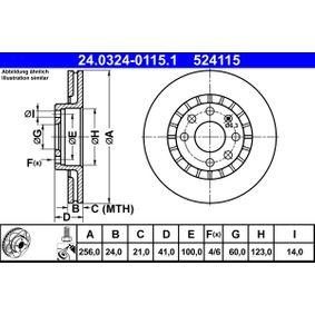 Bremsscheibe Bremsscheibendicke: 24,0mm, Lochanzahl: 4, Ø: 256,0mm mit OEM-Nummer 524115
