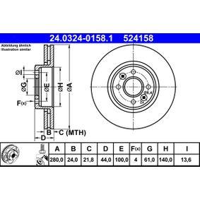 Unidad de Control de Tiempo de Incandescencia RENAULT MEGANE II Ranchera familiar (KM0/1_) 1.9 dCi de Año 03.2004 92 CV: Disco de freno (24.0324-0158.1) para de ATE
