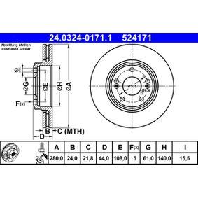 Pulseur d'Air et Composants RENAULT SAFRANE II (B54_) 2.2 dT (B54G) de Année 07.1996 113 CH: Disque de frein (24.0324-0171.1) pour des ATE