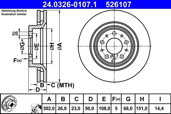 ATE PowerDisc 24.0326-0107.1 Bremsscheibe Bremsscheibendicke: 26,0mm, Lochanzahl: 5, Ø: 302,0mm