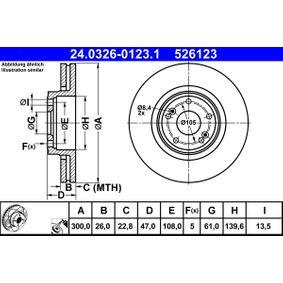 Bremsscheibe Bremsscheibendicke: 26,0mm, Lochanzahl: 5, Ø: 300,0mm mit OEM-Nummer 86.71.016.878