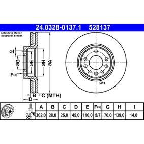 ATE PowerDisc 24.0328-0137.1 Bremsscheibe Bremsscheibendicke: 28,0mm, Lochanzahl: 5, Ø: 302,0mm