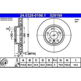 ATE PowerDisc 24.0328-0198.1 Bremsscheibe Bremsscheibendicke: 28,0mm, Lochanzahl: 5, Ø: 315,0mm