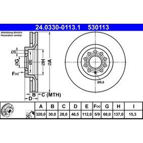 ATE Bremsscheibe 24.0330-0113.1 für AUDI A4 Cabriolet (8H7, B6, 8HE, B7) 3.2 FSI ab Baujahr 01.2006, 255 PS
