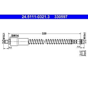 ATE  24.5111-0321.3 Bremsschlauch Länge: 320mm, Außengewinde: M10x1mm