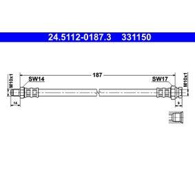 LANCIA Delta III (844) 1.4 Bifuel Bremsschläuche ATE 24.5112-0187.3 (1.4 Bifuel Benzin/Autogas (LPG) 2012 198 A4.000)