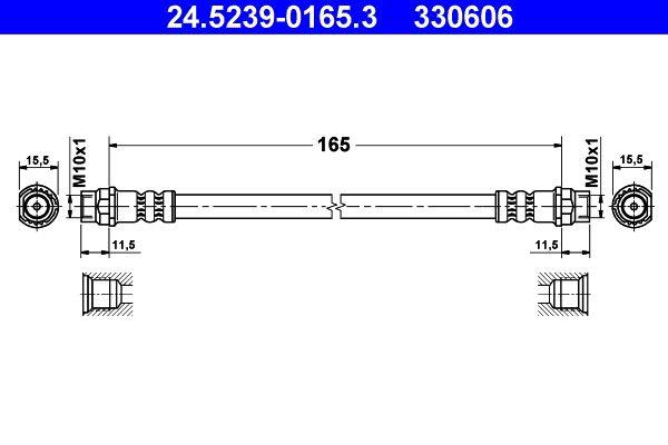ATE  24.5239-0165.3 Bremsschlauch Länge: 165mm, Innengewinde 1: M10x1mm, Innengewinde 2: M10x1mm
