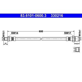 Bremsschlauch Länge: 600mm, Außengewinde: M10x1mm mit OEM-Nummer 330216