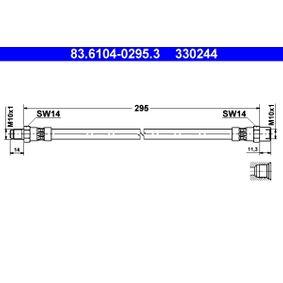 Bremsschlauch Länge: 295mm, Innengewinde: M10x1mm, Außengewinde: M10x1mm mit OEM-Nummer 3446569