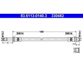Bremsschlauch Länge: 140mm, Außengewinde: M10x1mm mit OEM-Nummer 7M0 611 776C
