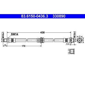 Latiguillos de Freno BMW X5 (E70) 3.0 d de Año 02.2007 235 CV: Tubo flexible de frenos (83.6150-0436.3) para de ATE