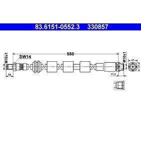Bremsschlauch Länge: 550mm, Außengewinde: M10x1mm mit OEM-Nummer 34 32 6 767 390