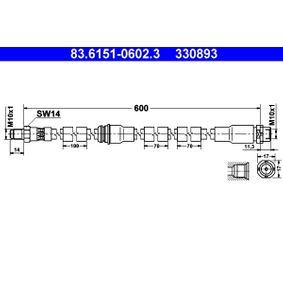 Latiguillos de Freno BMW X5 (E70) 3.0 d de Año 02.2007 235 CV: Tubo flexible de frenos (83.6151-0602.3) para de ATE