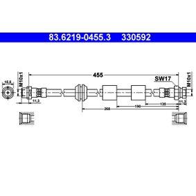 Bremsschlauch Länge: 455mm, Innengewinde 2: M10x1mm mit OEM-Nummer 1304007