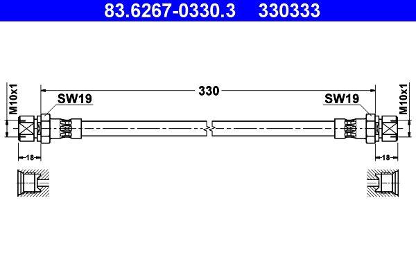 ATE  83.6267-0330.3 Bremsschlauch Länge: 330mm, Innengewinde 1: M10x1mm