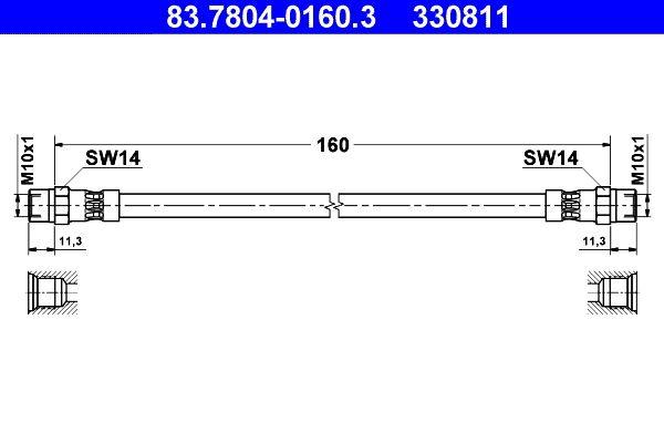 Bremsschlauch Hinterachse rechts, Hinterachse, 160mm preiswert  83.7804-0160.3