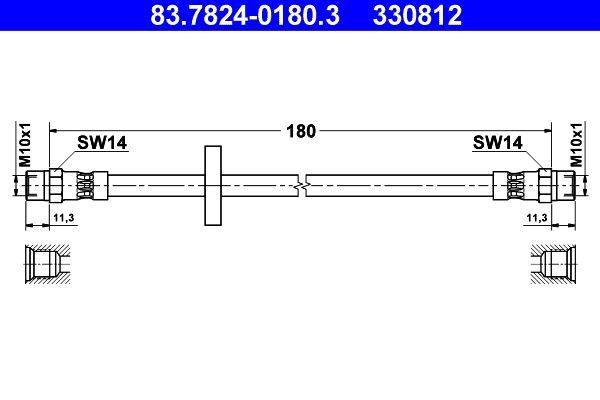 Bremsschlauch Hinterachse, Hinterachse rechts, Hinterachse links, 180mm preiswert  83.7824-0180.3