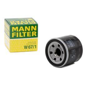Filtro olio (W 67/1) per per Cuscinetto Ruota NISSAN QASHQAI / QASHQAI +2 (J10, JJ10) 2.0 Trazione integrale dal Anno 02.2007 139 CV di MANN-FILTER