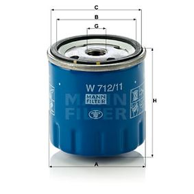 MANN-FILTER  W 712/11 Ölfilter Ø: 76mm, Außendurchmesser 2: 71mm, Innendurchmesser 2: 62mm, Höhe: 79mm
