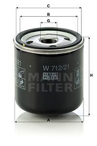 MANN-FILTER  W 712/21 Ölfilter Ø: 76mm, Außendurchmesser 2: 71mm, Innendurchmesser 2: 62mm, Innendurchmesser 2: 62mm, Höhe: 80mm