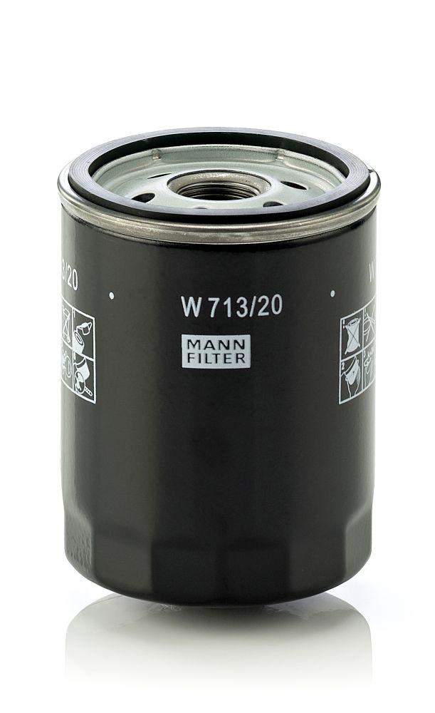 MANN-FILTER  W 713/20 Ölfilter Ø: 76mm, Außendurchmesser 2: 72mm, Innendurchmesser 2: 62mm, Innendurchmesser 2: 62mm, Höhe: 101mm