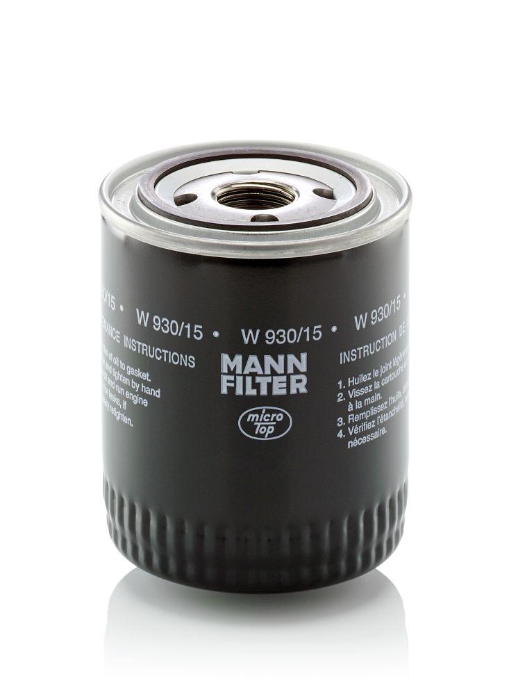 MANN-FILTER  W 930/15 Filtro de aceite Ø: 93mm, Diámetro exterior 2: 71mm, Diám. int. 2: 62mm, Altura: 114mm