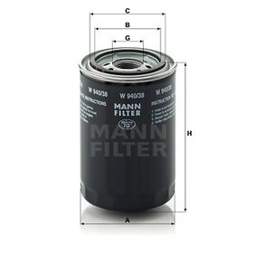 MANN-FILTER  W 940/38 Φίλτρο λαδιού Ø: 93mm, Εξωτερική διάμετρος 2: 72mm, Εσωτερική διάμετρος 2: 62mm, Ύψος: 141mm