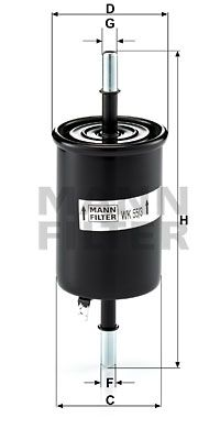 MANN-FILTER  WK 55/3 Filtro combustible Altura: 162mm