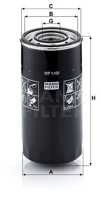 MANN-FILTER  WP 1169 Oljefilter Ø: 108mm, Ytterdiameter 2: 93mm, Innerdiameter 2: 103mm, Innerdiameter 2: 103mm, H: 213mm