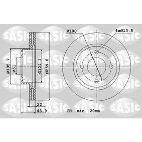 Bremsscheibe Bremsscheibendicke: 22mm, Lochanzahl: 4, Ø: 259,8mm mit OEM-Nummer 40 20 649 11R