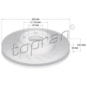 Disco freno Spessore disco freno: 32mm, Cerchione: 5-fori, Ø: 322mm con OEM Numero A 00042 13012