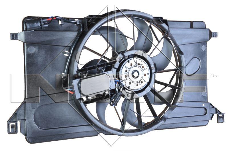 NRF Βεντιλατέρ, ψύξη κινητήρα Μηχανικό / προαιρετικά αυτόματο κιβώτιο ταχυτήτων  για οχήμ. με σύστ. κλιματισμού  οβάλ  με εγκέφαλο  Απλό βεντιλατέρ  Με πλαίσιο του βεντιλατέρ του ψυγείου (Zarge)  47266
