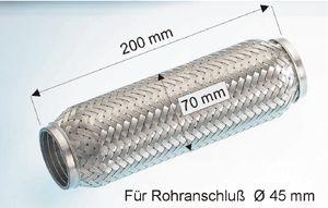 EBERSPÄCHER  99.010.79 Flexrohr, Abgasanlage Länge: 200mm, Innendurchmesser: 45mm
