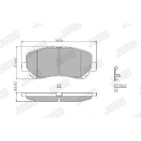 Bremsbelagsatz, Scheibenbremse Höhe 1: 57,5mm, Dicke/Stärke: 16mm mit OEM-Nummer 25564 JURID
