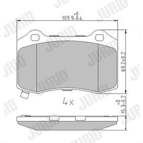 Bremsbelagsatz, Scheibenbremse Höhe 1: 69mm, Dicke/Stärke: 15,4mm mit OEM-Nummer 68144223AA