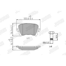 Bremsbelagsatz, Scheibenbremse Höhe 1: 56mm, Dicke/Stärke: 16,8mm mit OEM-Nummer JZW 698 451G