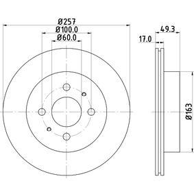 PAGID  54312 Bremsscheibe Bremsscheibendicke: 17,0mm, Ø: 257mm