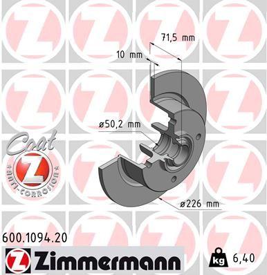 ZIMMERMANN COAT Z 600.1094.20 Bremsscheibe Bremsscheibendicke: 10mm, Felge: 4-loch, Ø: 278mm