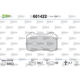 Bremsbelagsatz, Scheibenbremse VALEO Art.No - 601422 OEM: MXD2750AA für VW, PEUGEOT, SEAT, CITROЁN, VOLVO kaufen