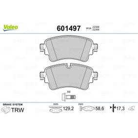 Kit de plaquettes de frein, frein à disque VALEO Art.No - 601497 OEM: 8W0698451N pour VOLKSWAGEN, AUDI, SEAT, SKODA récuperer