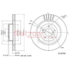 Bremsscheibe METZGER Art.No - 6110750 OEM: 26300FE040 für SUBARU, BEDFORD kaufen