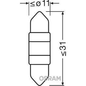 Крушка с нагреваема жичка, светлини купе (6497CW-01B) от OSRAM купете