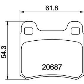 Bremsbelagsatz, Scheibenbremse HELLA Art.No - 8DB 355 007-321 OEM: A0014200120 für MERCEDES-BENZ kaufen