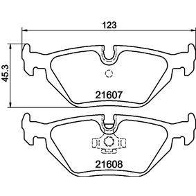 Bremsbelagsatz, Scheibenbremse HELLA Art.No - 8DB 355 007-511 OEM: 34212157621 für BMW kaufen