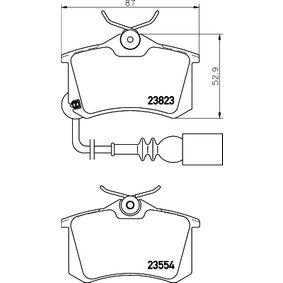 Bremsbelagsatz, Scheibenbremse HELLA Art.No - 8DB 355 010-781 OEM: JZW698451F für VW, AUDI, SKODA, SEAT kaufen