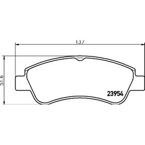 Brake Pad Set, disc brake HELLA Art.No - 8DB 355 011-071 OEM: 1613192280 for PEUGEOT, CITROЁN, DS, PIAGGIO buy